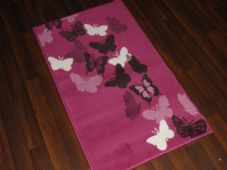 Modern Aprox 4x2 60cmx110cm Novelty Butterflys New Rugs Woven Backed Cream/pink